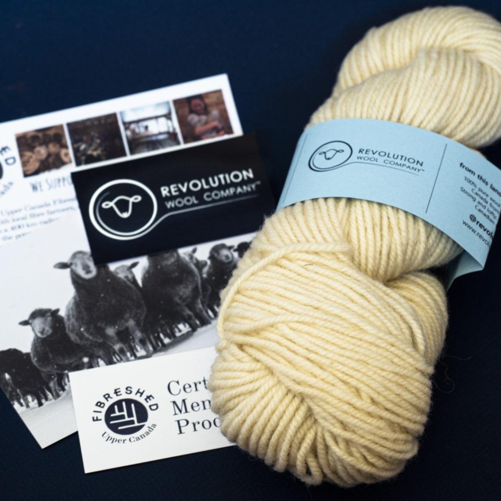 One skein of Revolution Wool Co Aran